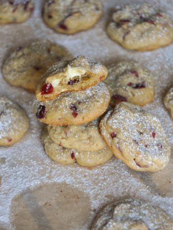 White chocolate and cranberry cookies stacked