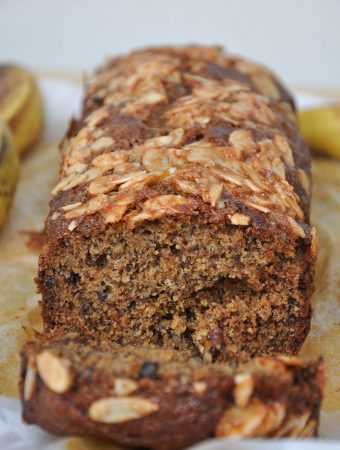 Banana bread with almond topping