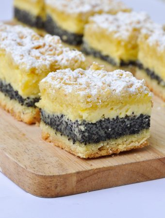Poppy seeds and curd bars cut into squares