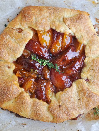 Peach and apricot galette with lemon thyme