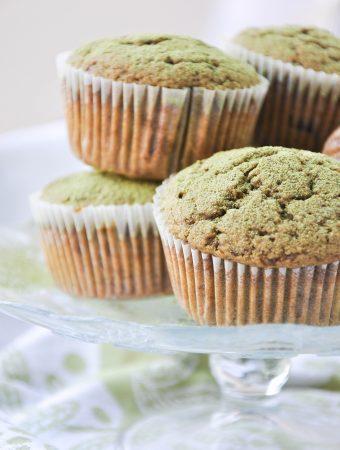 Vegan matcha chocolate chip muffins