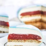 Rhubrab and strawberry mascarpone mousse cake