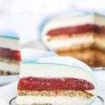 Rhubarb and strawberry mascarpone mousse cake photo