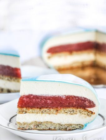 Rhubarb and strawberry mascarpone mousse cake photo