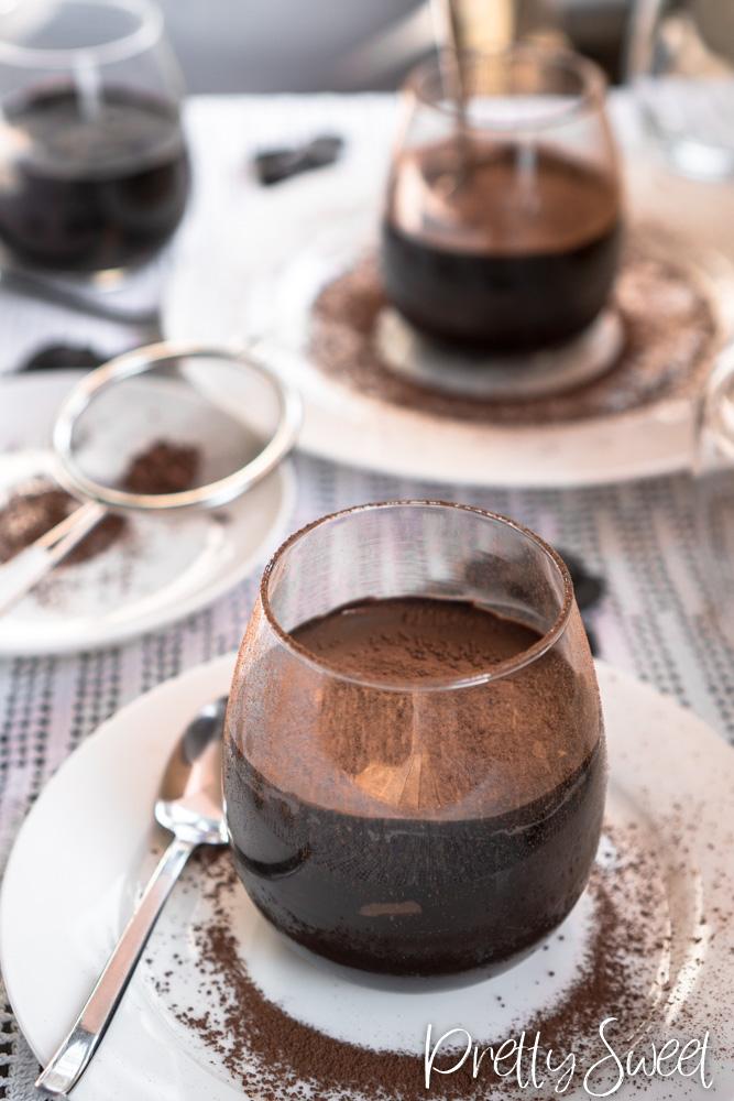 Chocolate dream cake in a glas