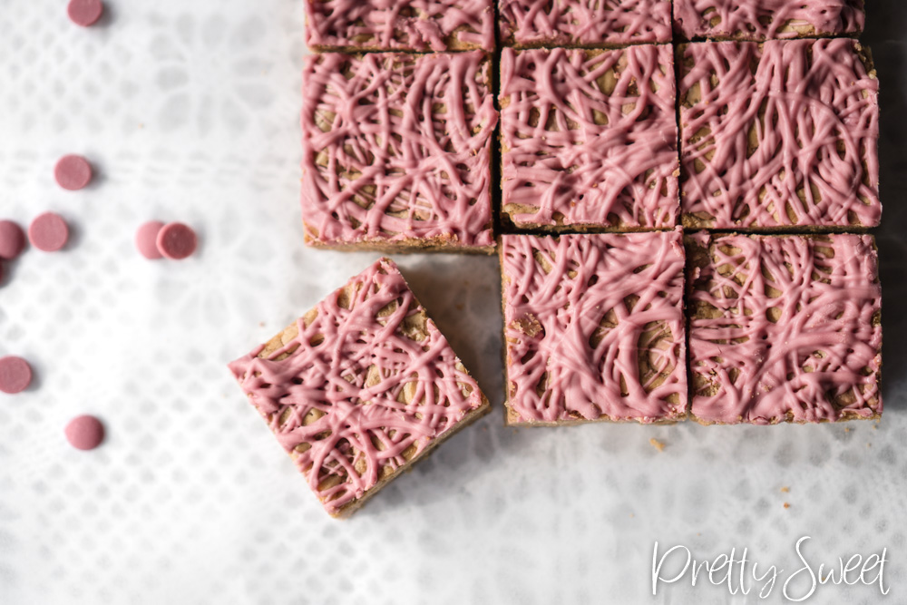 Ruby chocolate blondies with browned butter