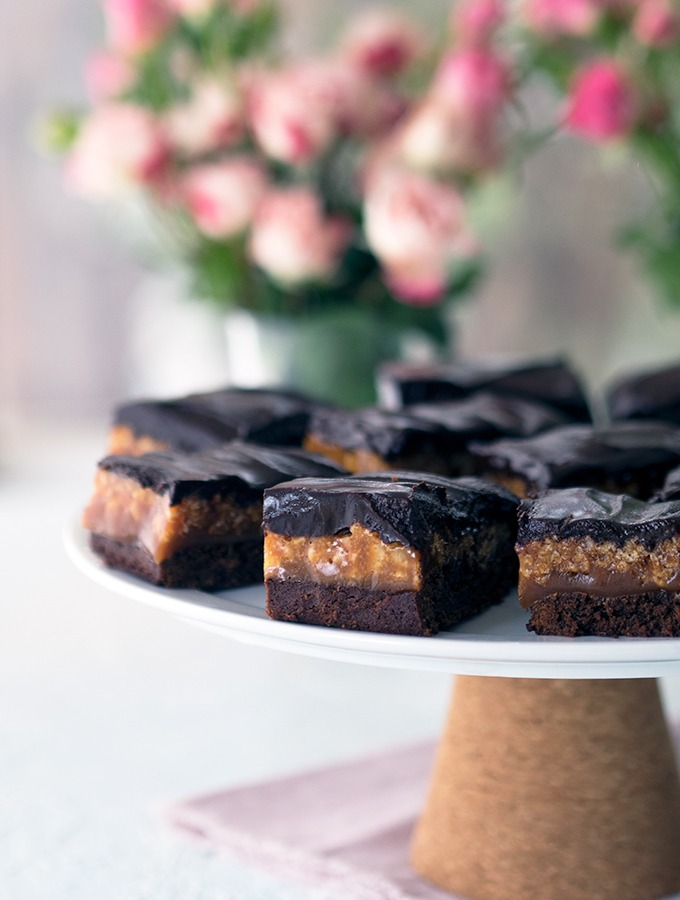 Caramel Crunch Brownies - You could also call these Caramel Crunch Bars. Traditional caramel recipe with rice puffs are the filling to these rich dark chocolate brownies
