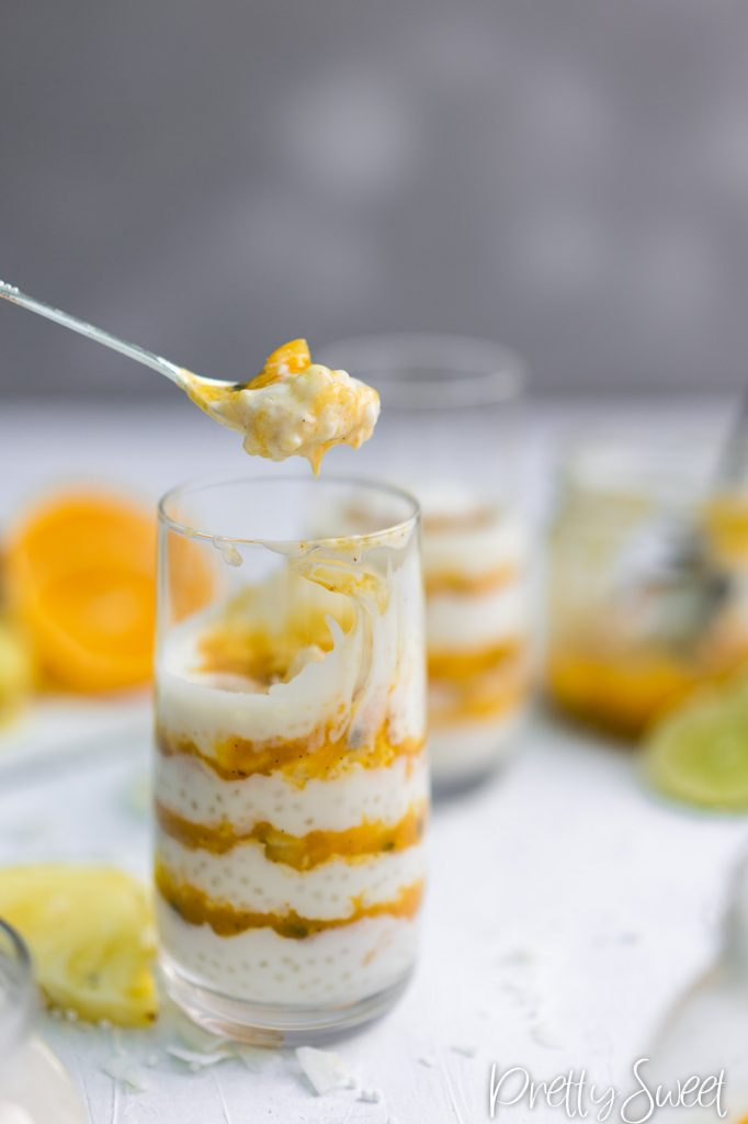 Coconut Tapioca Pudding with Passion sauce