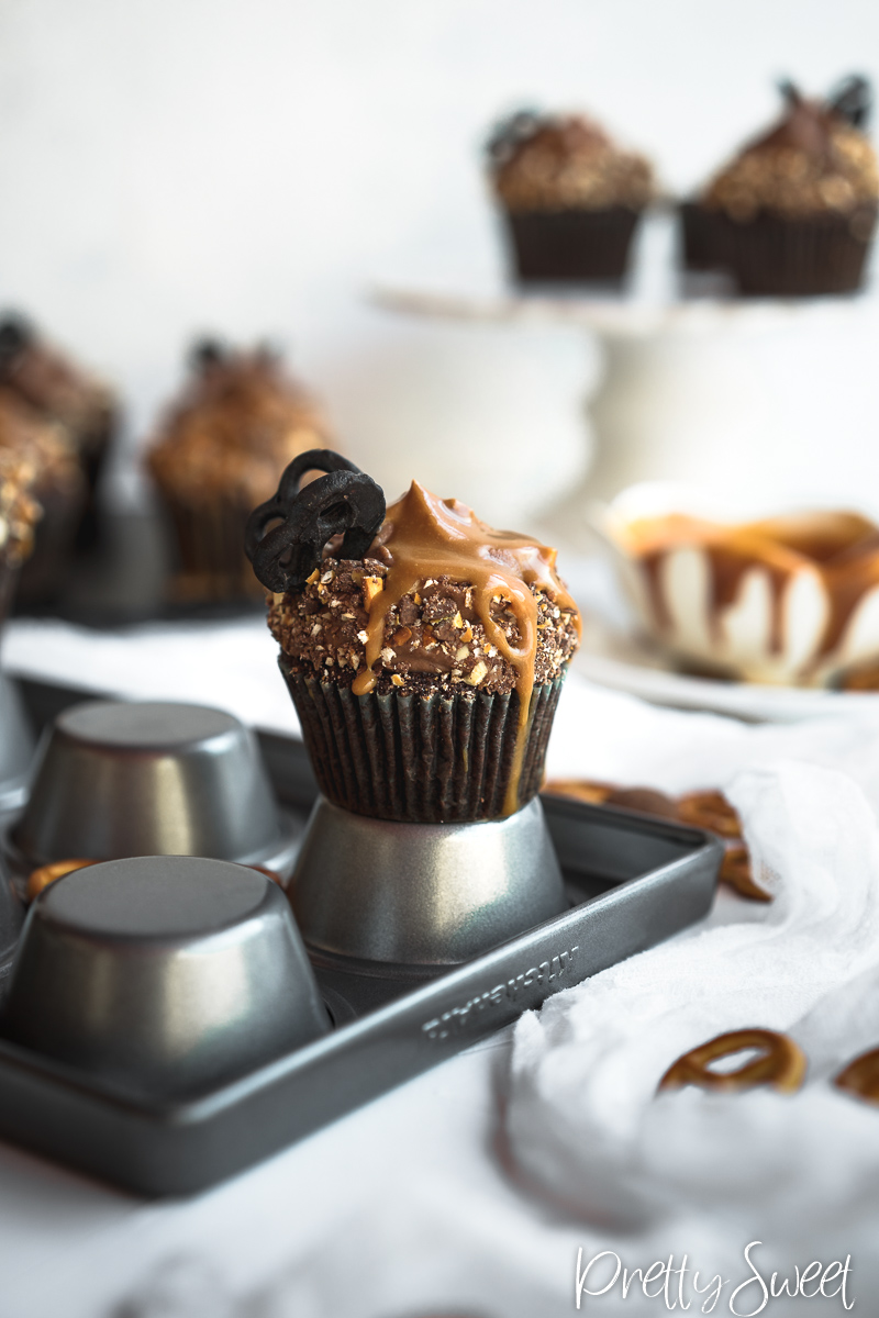 Salted Caramel Chocolate Cupcakes with chocolate butterfly pretzels