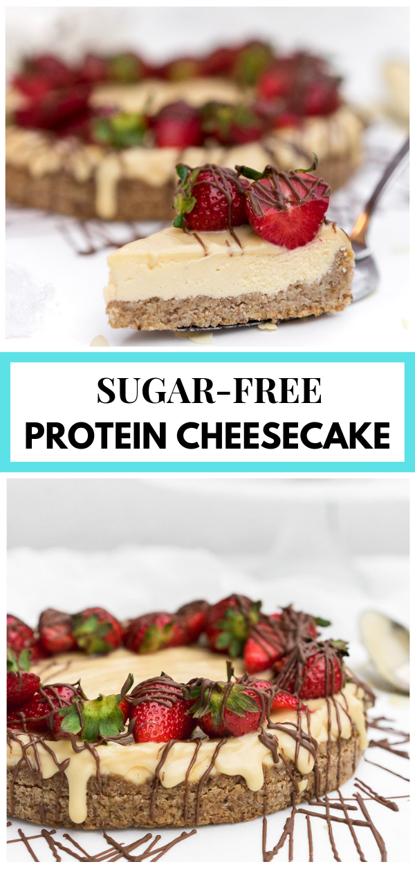 Two pictures of protein cheesecakes with text and border