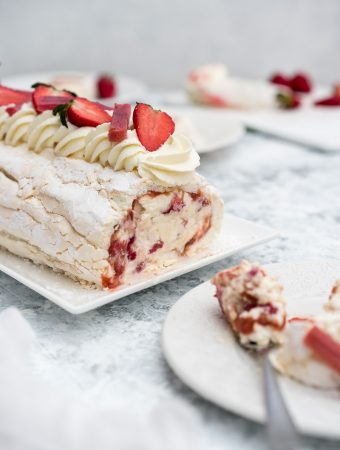meringue roulade with strawberry rhubarb and mascarpone