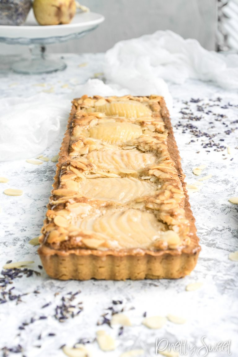 Pear frangipane tart with lavadner from the front