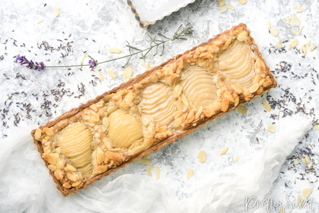 Pear frangipane tart with lavadner from bird's perspective