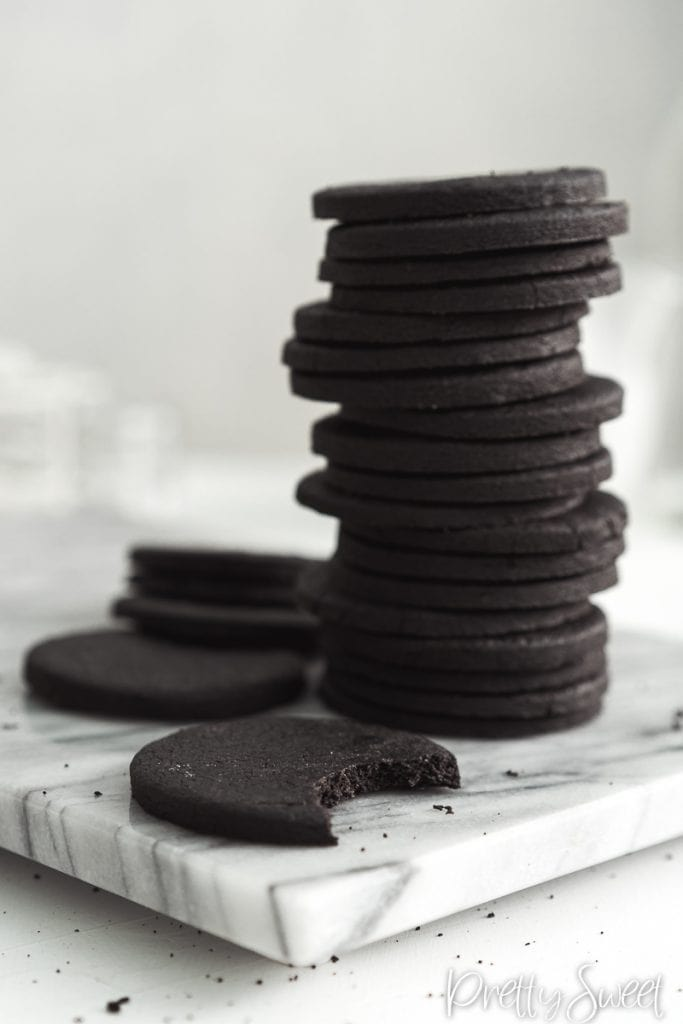 A tall stack of dark cocoa sable cookies