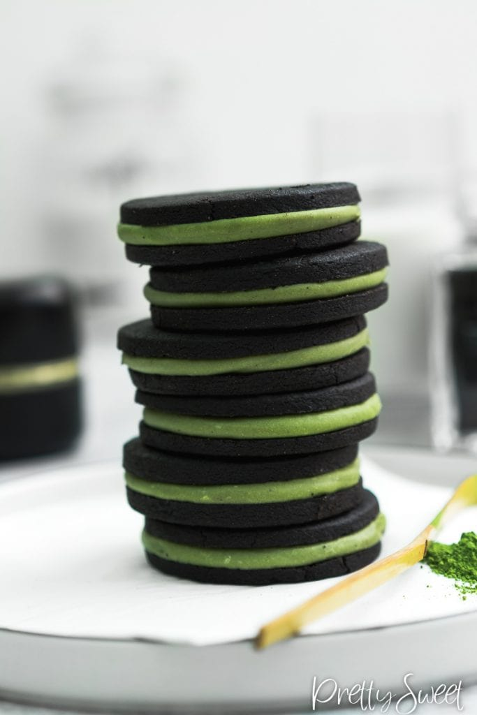 DIY matcha oreos with dark cocoa and ganache