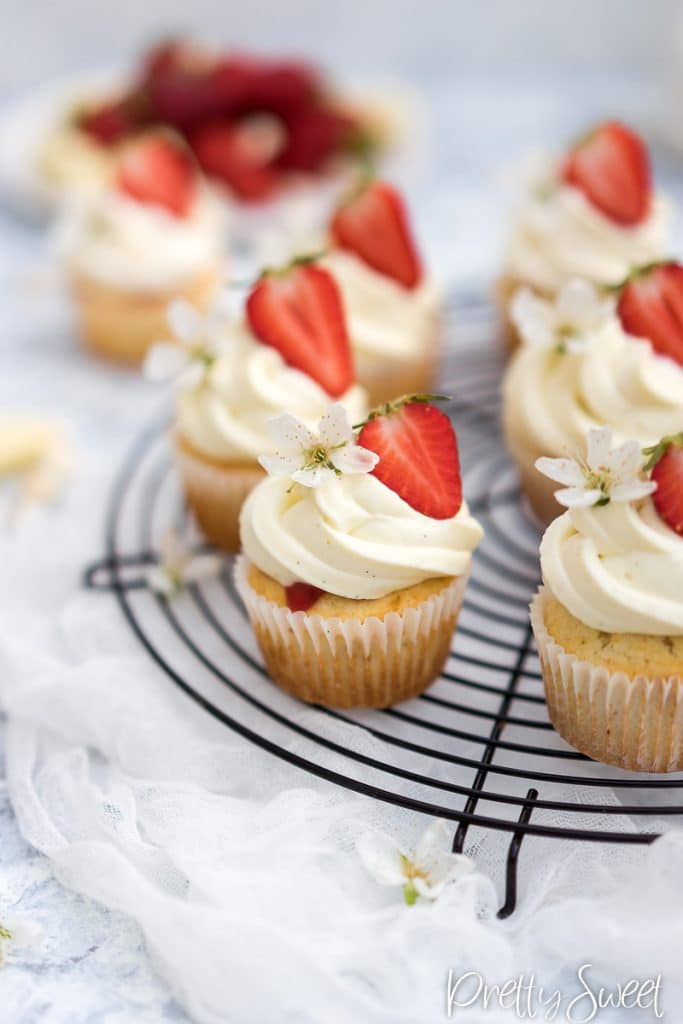 Close up of a strawberry shortcake cupcakes with mascarpone swirl