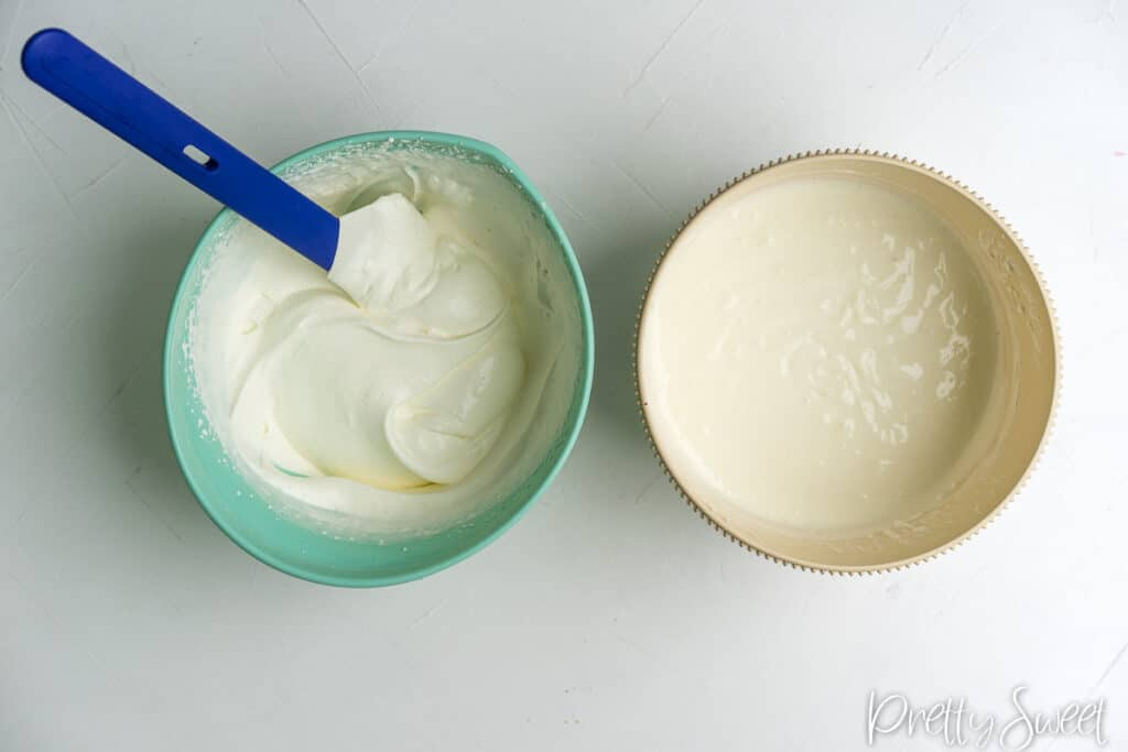 a bowl of whipped cream and a bowl of yogurt with gelatin and sugar
