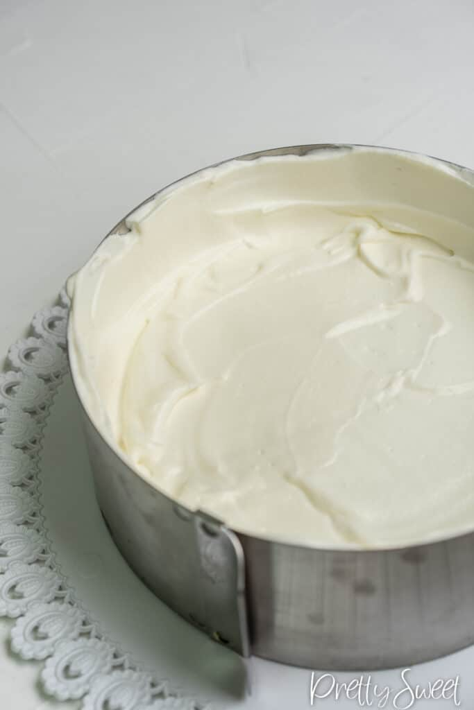 Close up on a yogurt mousse in a cake tin