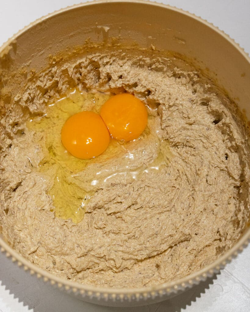 cream butter and sugar with added eggs in a bowl