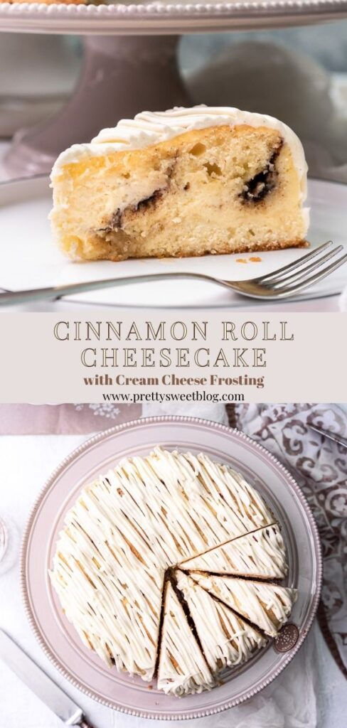 2 cinnamon roll cheesecake photos collage with writing